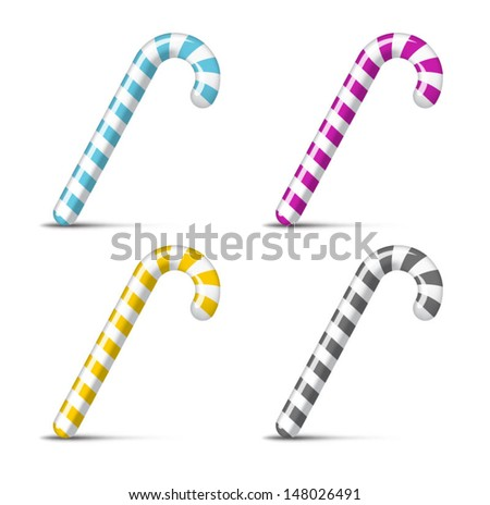 Multicolor christmas candy cane on white. - stock vector
