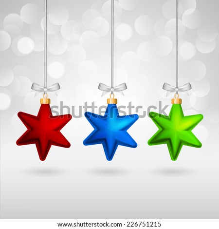 Multicolor christmas stars with bows on sparkling background. - stock vector