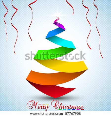 Multicolor Christmas tree. Vector illustration. - stock vector