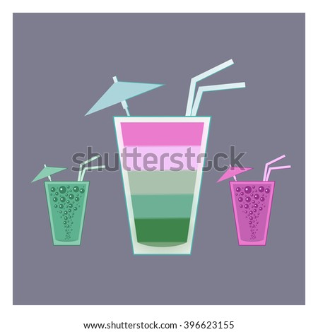 Multicolor cocktail glass vector illustration. Cocktail icons isolated. - stock vector