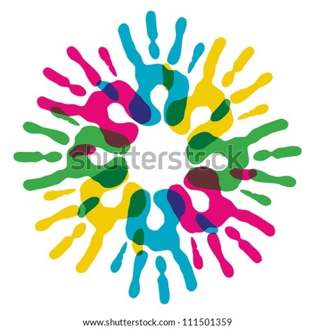 Multicolor creative diversity hands circle isolated. Vector illustration layered for easy manipulation and custom coloring. - stock vector
