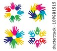 Multicolor creative diversity hands symbols set. Vector illustration layered for easy manipulation and custom coloring. - stock photo