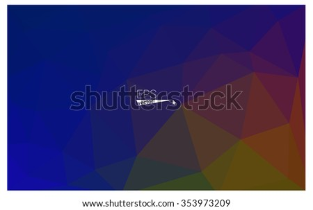 Multicolor dark blue, yellow, orange geometric rumpled triangular low poly origami style gradient illustration graphic background. Vector polygonal design for your business.
