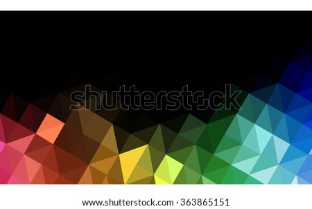 Multicolor dark polygonal illustration, which consist of triangles. Geometric background in Origami style with gradient. Triangular design for your business in vector. Rainbow, spectrum image.