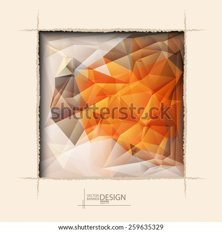 Multicolor Design Templates. Geometric Triangular Abstract Modern Vector Background. square ragged hole on coffee wall. - stock vector