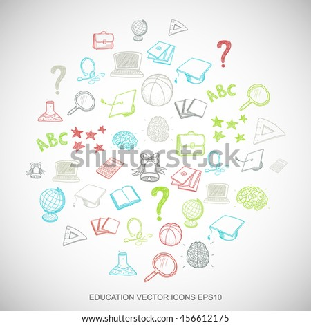 Multicolor doodles flat Hand Drawn Education Icons set In A Circle on White background. EPS10 vector illustration.
