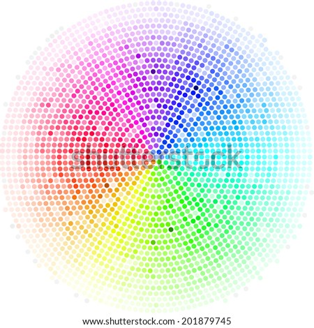 Multicolor dots digital in form circle  on the white background