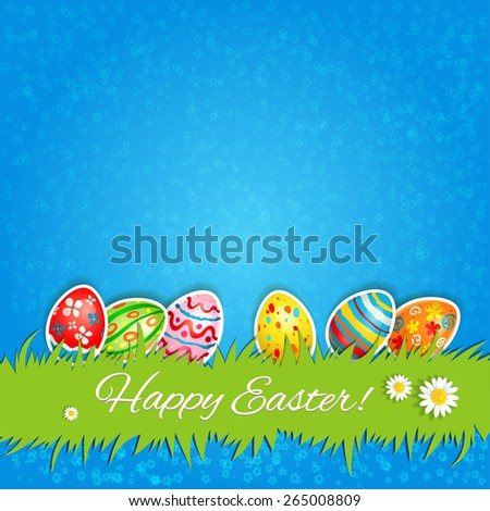 Multicolor eggs and green grass. Holiday Easter card with place for text. - stock vector