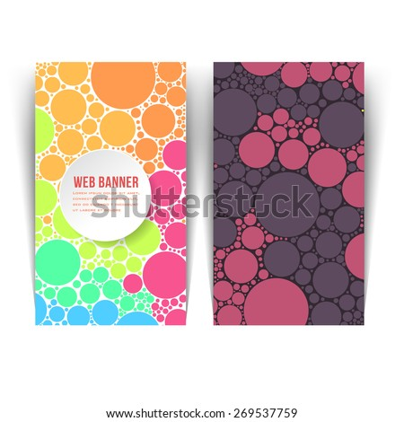 Multicolor Ellipse Elements Vertical Flat Web Banner Design - stock vector