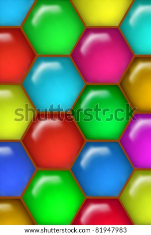 Multicolor Glossy Honey Comb Pattern (Vector)