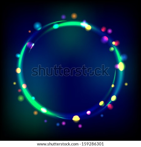 Multicolor glowing circle frame with sparkles. Vector eps 10 - stock vector