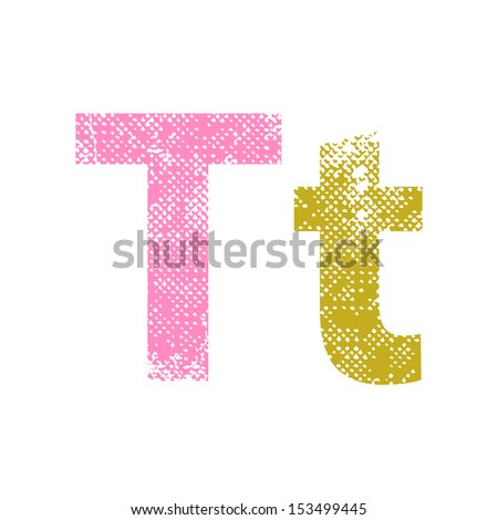 Multicolor grunge letters T. Vector illustration. - stock vector
