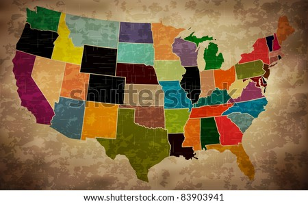 Multicolor Grunge USA Map - EPS10 Vector - stock vector