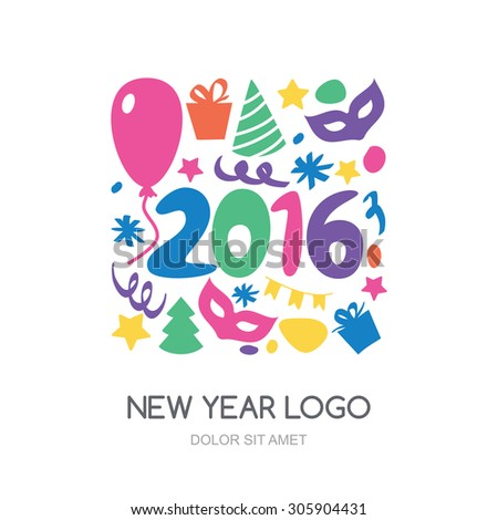 Multicolor hand drawn New Year 2016 logo. Vector icons set. Gift, balloon, mask,  Christmas tree, confetti symbols. Abstract holiday background.