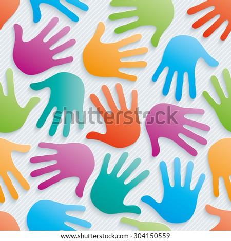 Multicolor handprints wallpaper. 3d seamless background. Vector EPS10. - stock vector