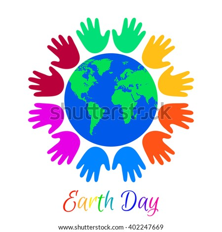 Multicolor Kids palms around planet Earth. Earth Day holiday. - stock vector