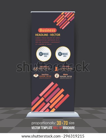 Multicolor Lines Elements Business Roll-Up Banner Design, Advertising Vector Template  - stock vector