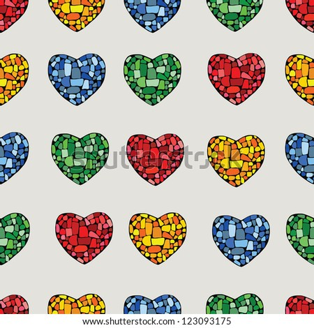 Multicolor mosaic heart on beige background - stock vector