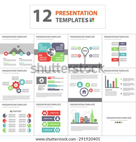 Multicolor multipurpose presentation template brochure flyer flat design set - stock vector