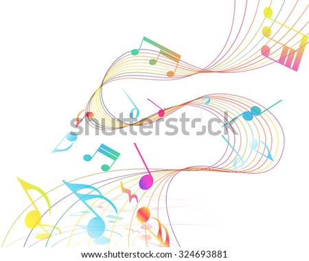 Multicolor Musical Design From Music Staff Elements With Treble Clef And Notes With Copy Space. Elegant Creative Design Isolated on White. Vector Illustration. - stock vector