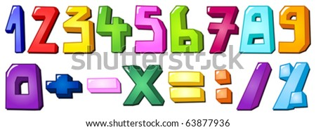 Multicolor numbers - stock vector