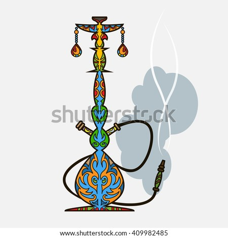 Multicolor oriental design hookah vector illustration - stock vector