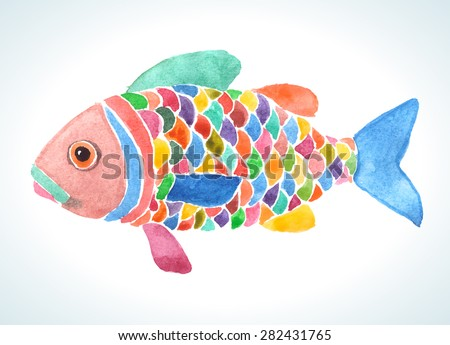 Multicolor painting of a decorative cartoon fish with bright rainbow scales. Vector illustration. - stock vector