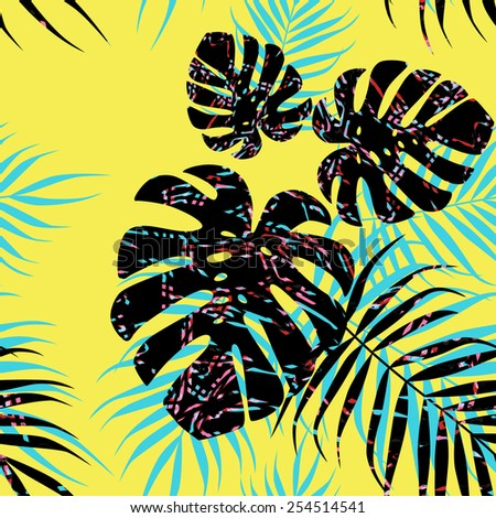 Multicolor palm tree foliage on yellow background - stock vector