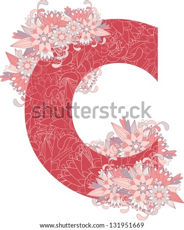 Multicolor patterned letter C with floral elements. Vector illustration - stock vector