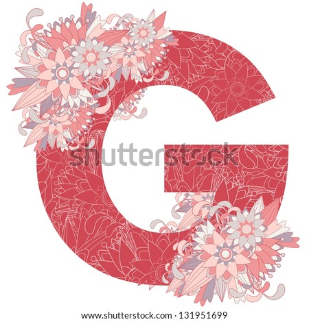 Multicolor patterned letter G with floral elements. Vector illustration - stock vector