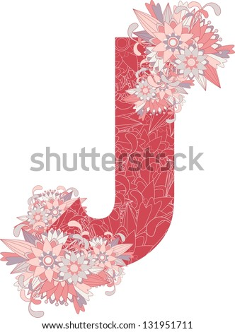 Multicolor patterned letter J with floral elements. Vector illustration - stock vector