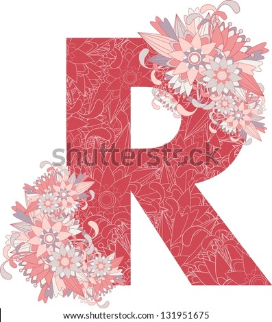 Multicolor patterned letter R with floral elements. Vector illustration - stock vector