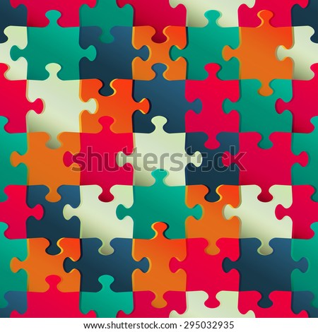 multicolor puzzle seamless pattern