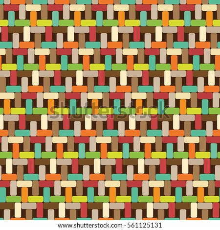Multicolor seamless pattern. Wickerwork.