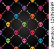 Multicolor seamless pattern with skulls. EPS 8 vector illustration. Contains transparency effects. - stock photo