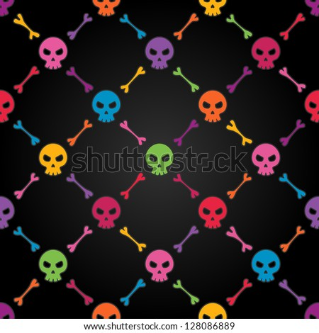 Multicolor seamless pattern with skulls. EPS 8 vector illustration. Contains transparency effects. - stock vector