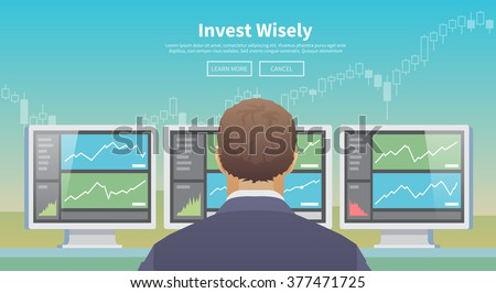 Multicolor stock exchange trading set of web banner. Equity market. World economy major trends. Modern flat design. Invest wisely. - stock vector
