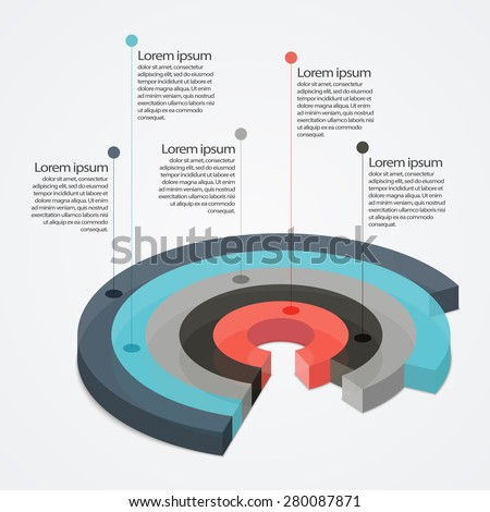 Multicolor transparent glass pie chart with transparency - stock vector