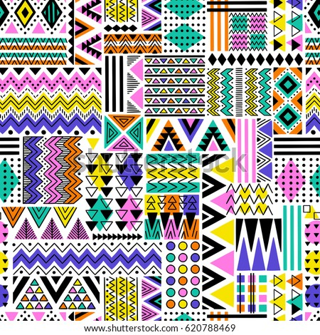 Vector seamless pattern geometric shapes retro stock for Acid song 80s