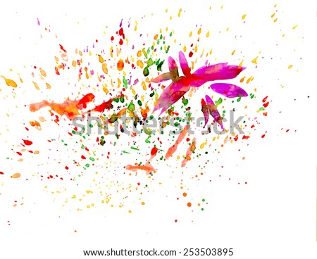 Multicolored abstract background with watercolor brush strokes and paint splashes - stock vector