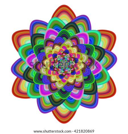 Multicolored abstract computer generated floral design vector - stock vector