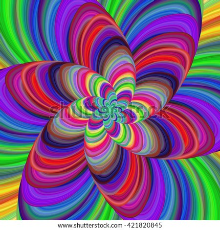 Multicolored abstract fractal flower spiral design background vector - stock vector