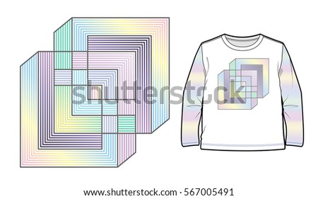 Multicolored abstract geometric composition can be used for apparel decoration