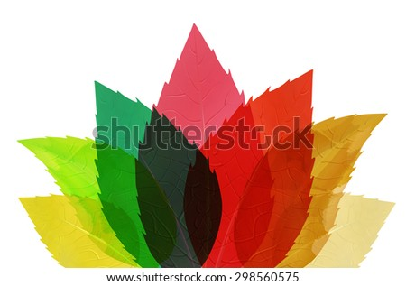 Multicolored abstract leaves - isolated on white background. Vector illustration. - stock vector