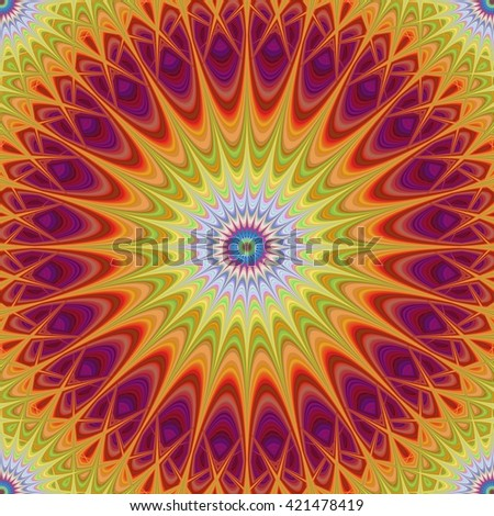 Multicolored abstract mandala fractal design background vector