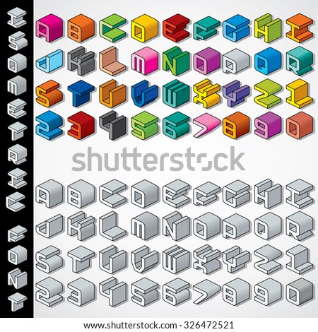 Multicolored and Monochrome Isometric 3D Font. Collection of Vector Letters and Numbers - stock vector