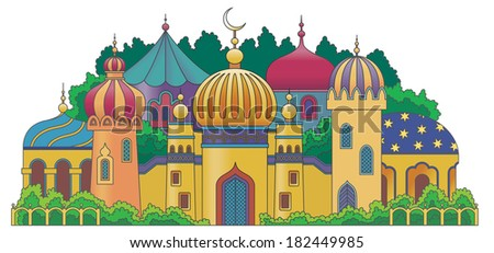Multicolored Arabic city with character Islam buildings