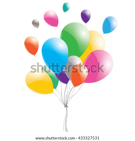 Multicolored balloons on a white background. Balloons on sky.