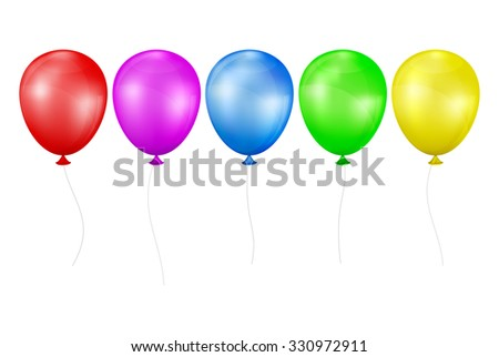 Multicolored balloons. Set on a white background. EPS-10. Mesh gradient and transparency is used. - stock vector