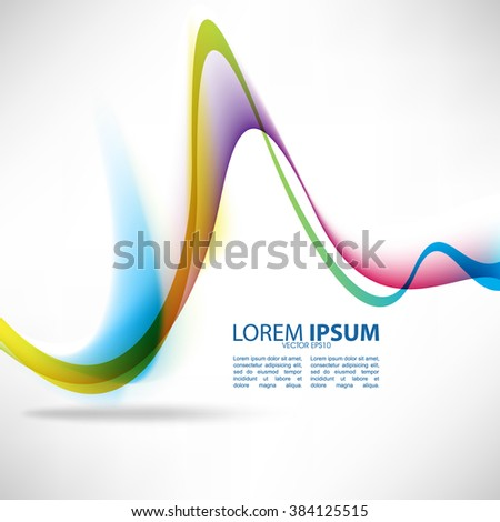 multicolored bent wave lines abstract design - stock vector